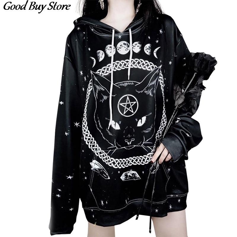 Женские толстовки с капюшоном Dark Night Moon Cat, уличная одежда с длинным рукавом и 3D принтом в стиле панк, готика, пуловер с капюшоном и рисунком к...