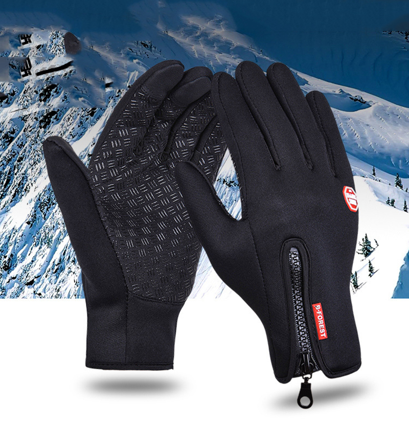 Windstopers Handschuhe Anti Slip Winddicht Thermische Warme Touchscreen Handschuh Atmungsaktive Tactico <font><b>Winter</b></font> Männer Frauen Black Zipper Handschuhe image