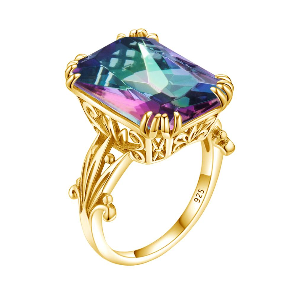 14K Gold Rainbow Mystic Topaz Ring 925 Sterling Silver Rings For Women Gemstones Square Wedding Party Silver 925 Jewelry Ringe