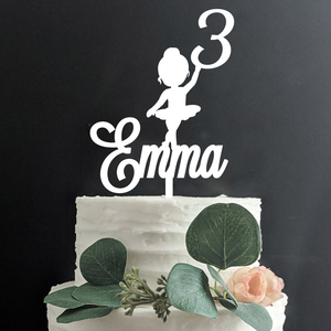 Acrylic Glitter custom name Ballerina 3rd Cake Topper,Personalized Centerpieces age 1st to 10th Ballerina Party Birthday Decor(China)