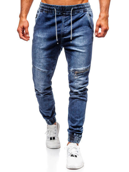 'Men's Casual Jeans Knee Zipper  Loose Zip  Foot Wash  Denim Pants  Mens Jeans