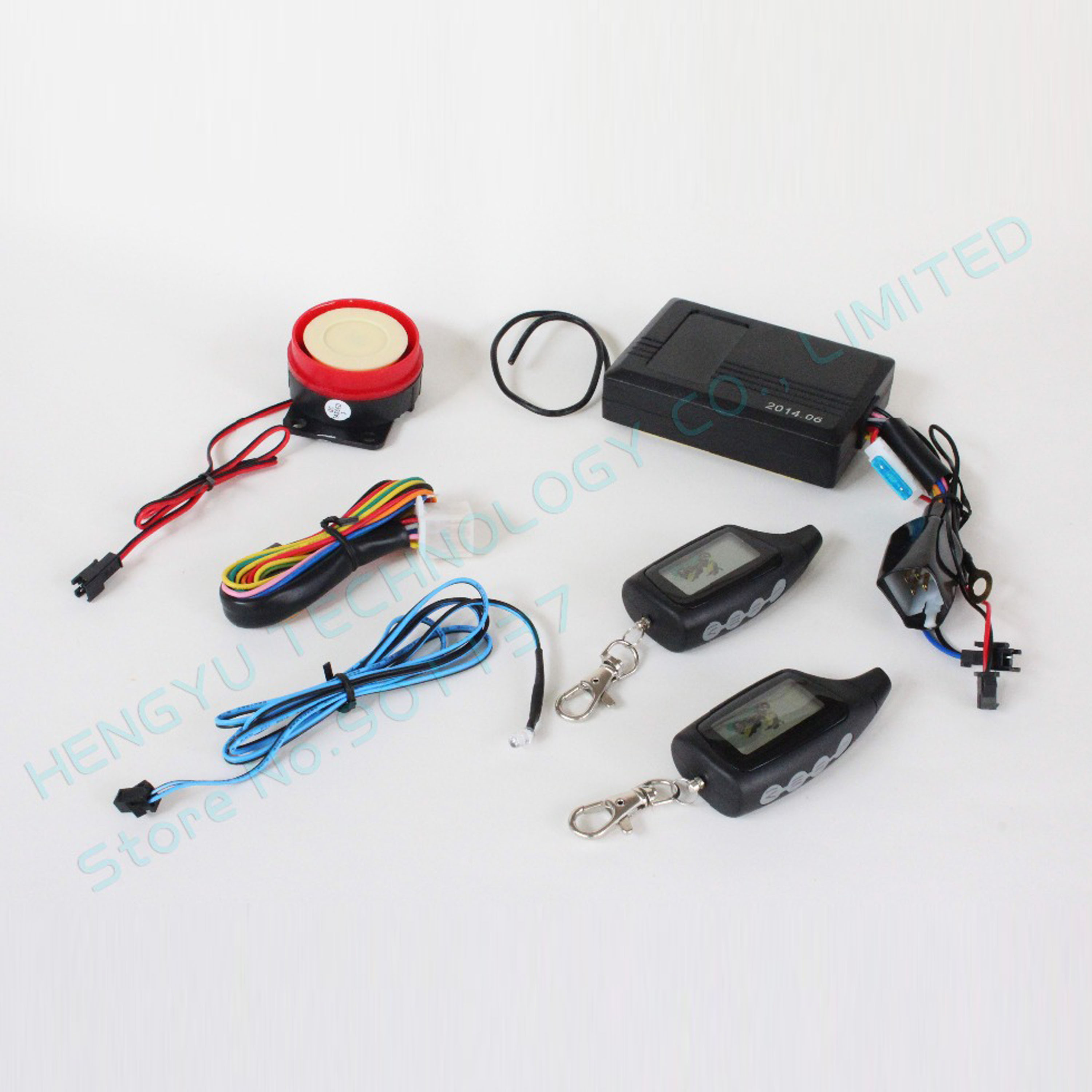 two way motorcycle alarm system with 2 LCD transmitters remote engine start long range distance control