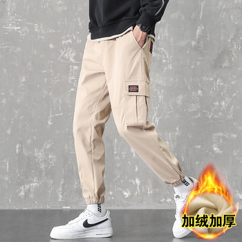 Winter new style mens cashmere casual overalls plus Plush warm Capris