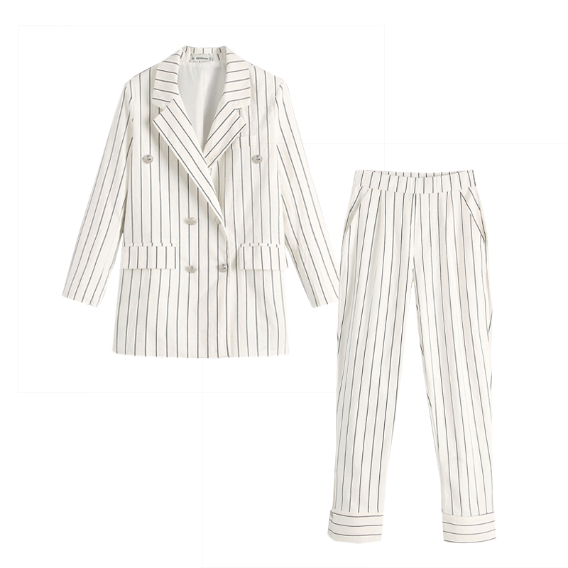 Early Autumn Temperament Women's Suit Casual Slim Double Breasted Black Striped White Blazer And Pants Set Temperament Skirtsuit