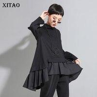 XITAO Patchwork Ruffles Black T Shirt Women Clothes 2019 Fashion Match All Irregular Tee Top Pullover Full Sleeve Autumn WQR1670