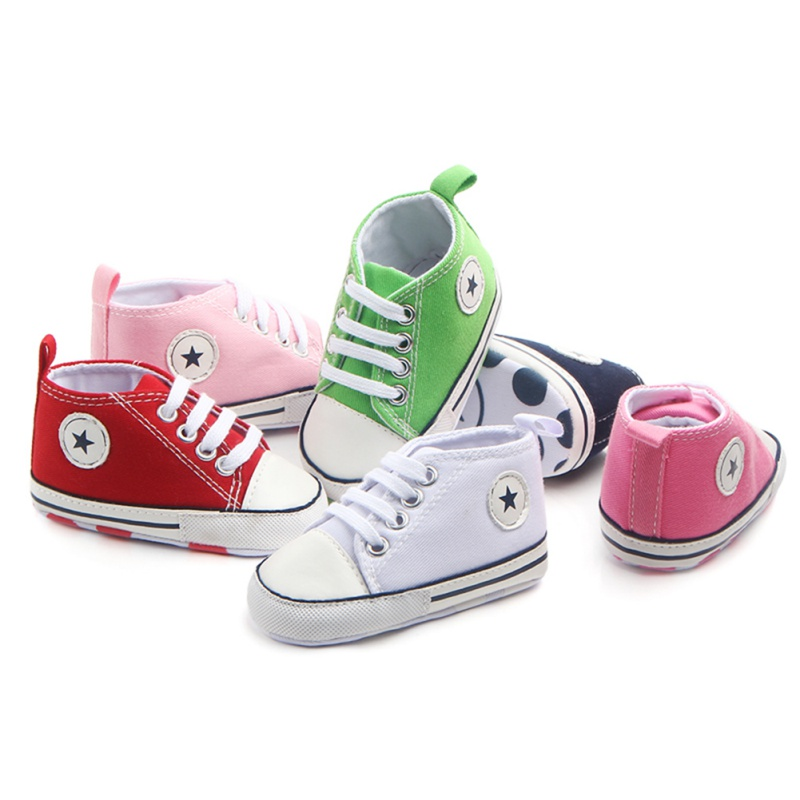 Baby Boy Girl Shoes Soft Bottom Toddler Anti-slip Multi-color Star Canvas Sneakers Newborn First Walkers Crib Walking Shoes L