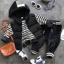 Conjunto de roupas infantis para outono e inverno, roupas para meninos, colete grosso + moletom com capuz + calças de pelúcia, 3, pçs/sets conjunto de roupas