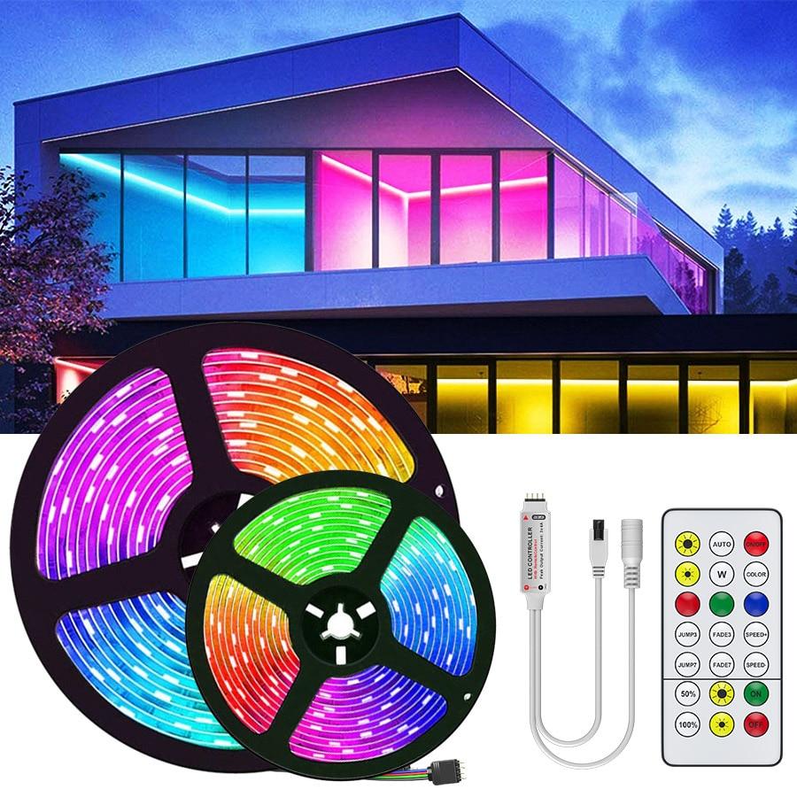 15M 20M 5050 RGB led strip light Waterproof RGB Tape Led Ribbon 5M 10M Led Strip Light With IR Remote For Christmas