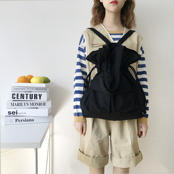 2020 Cotton Canvas Bags for Women daily Backpack teenager Japanese Style Students Drawstring shopper shoulder College travel bag hot style canvas drawstring bags animation jojo bizarre adventure assassin s creed attack on titan gravity falls backpack bag