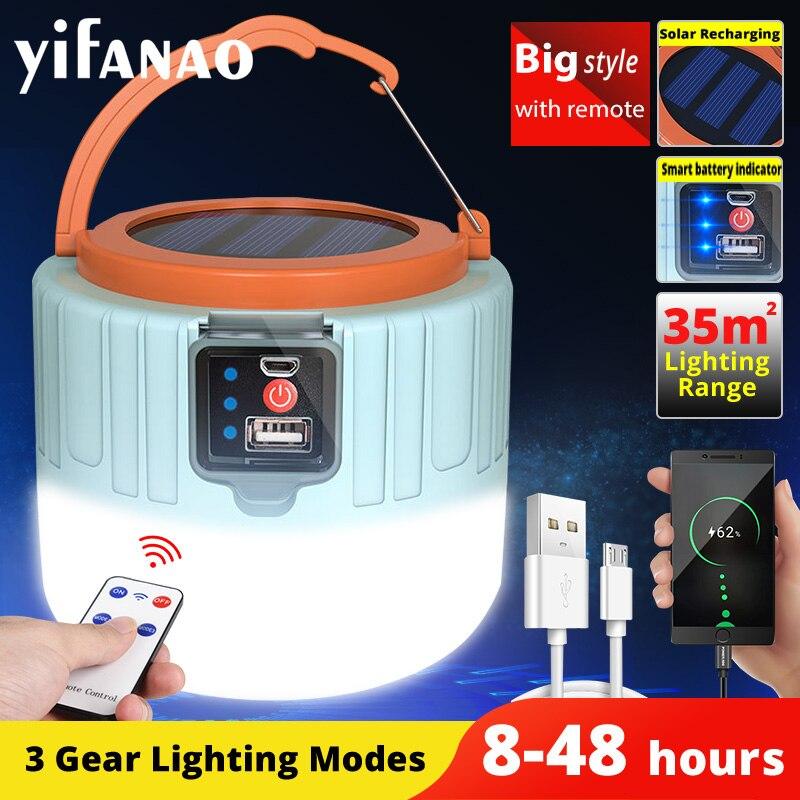 Солнечный светодиодный Кемпинг Светильник USB Перезаряжаемые лампы для напольный светильник палатка Портативный уличный аварийный св…
