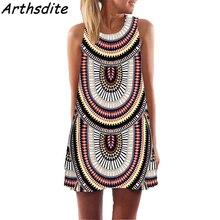 Arthsdite 2018 Vintage Women Summer Dress Floral Print Beach Bohemian Casual Sleeveless Mini Sundress Plus Size Vestidos