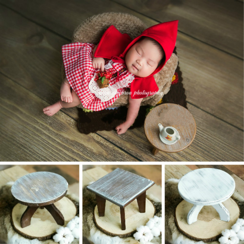 Newborn Photography Props Mini Wooden Table Baby Photo Table Infant Shoot Accessories Studio Creative Props Small Wooden Desk