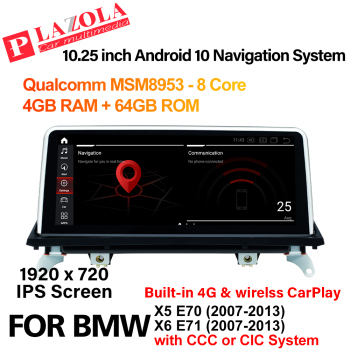 Android 10 Car Multimedia GPS Player For BMW X5 E70 X6 E71 2007-2013 CCC CIC System CarPlay Navigation AutoRadio IPS Car Radio image