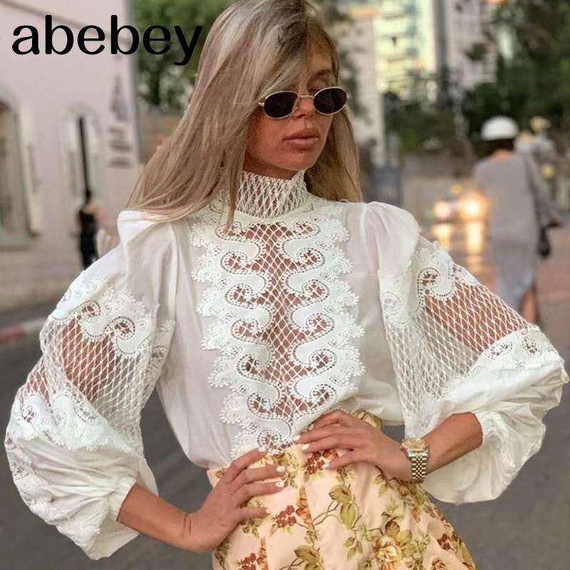 White Elegant Embroidery Women's Shirt Scarf Collar Lantern Sleeve Female Shirts Clothing Autumn Fashion New