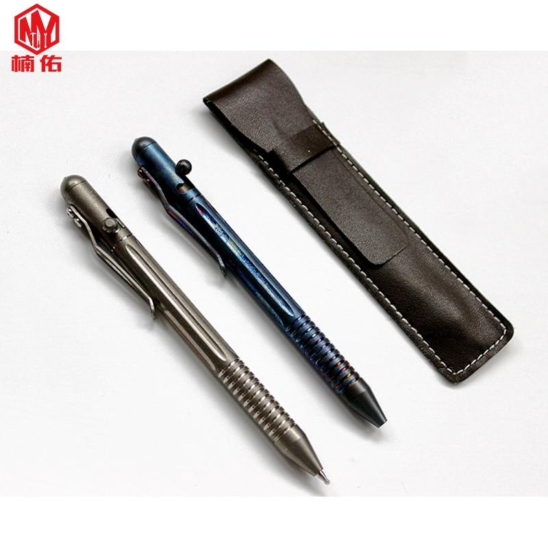 1pc liga de titanio parafuso arma primavera imprensa escrita assinatura caneta auto defesa tatico caneta de