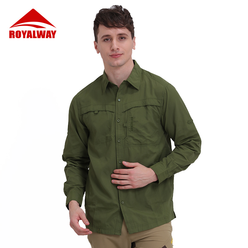 ROYALWAY Outdoor Tactical Exercise Mens Multifunctional Military Shirt Breathable Quick Dry UV Protection Full Fishing Shirt