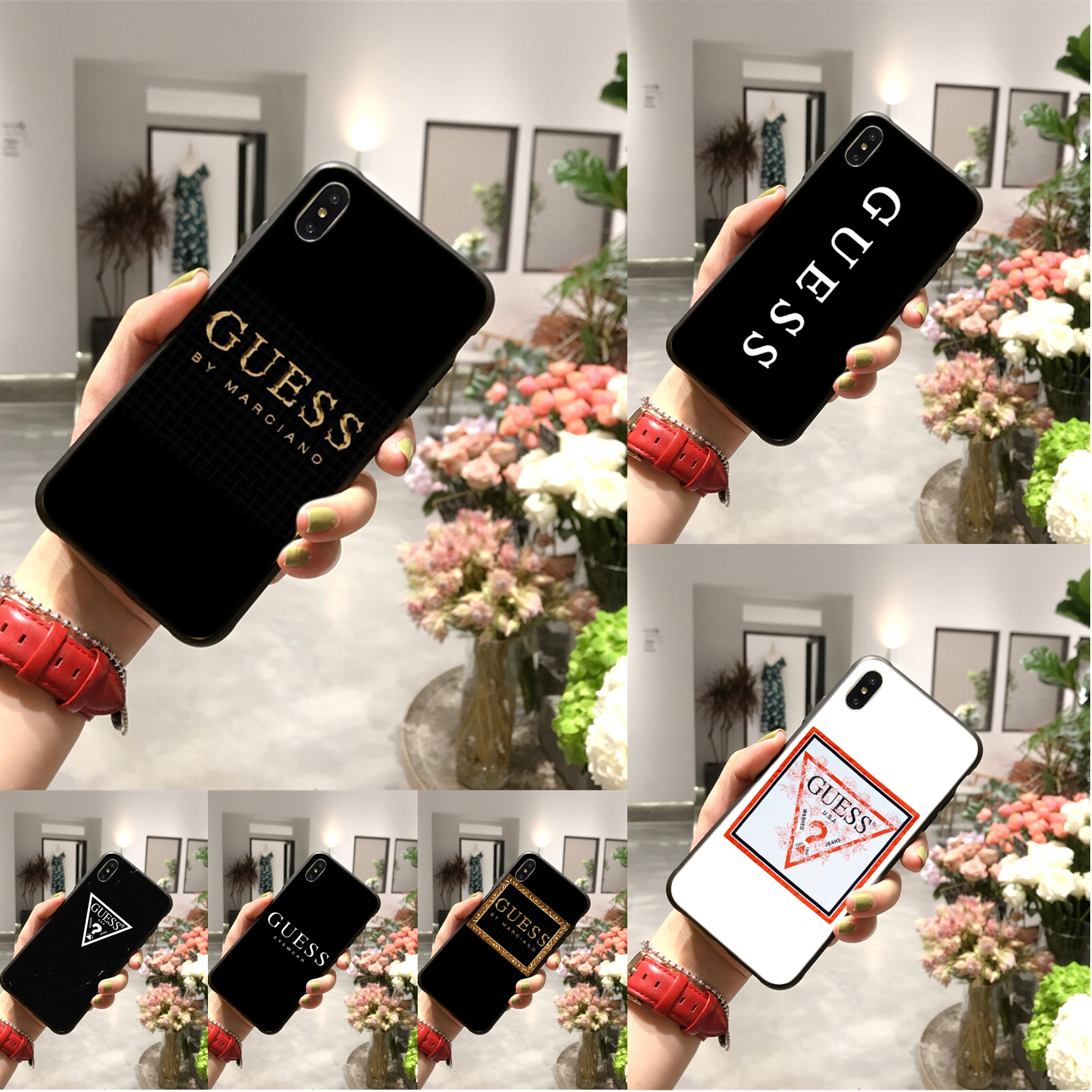 Luxury brand united state brand guess Inverted triangle phone case for iphone 11promax 6 6s 7 8plus cover for iphonexr x xs max