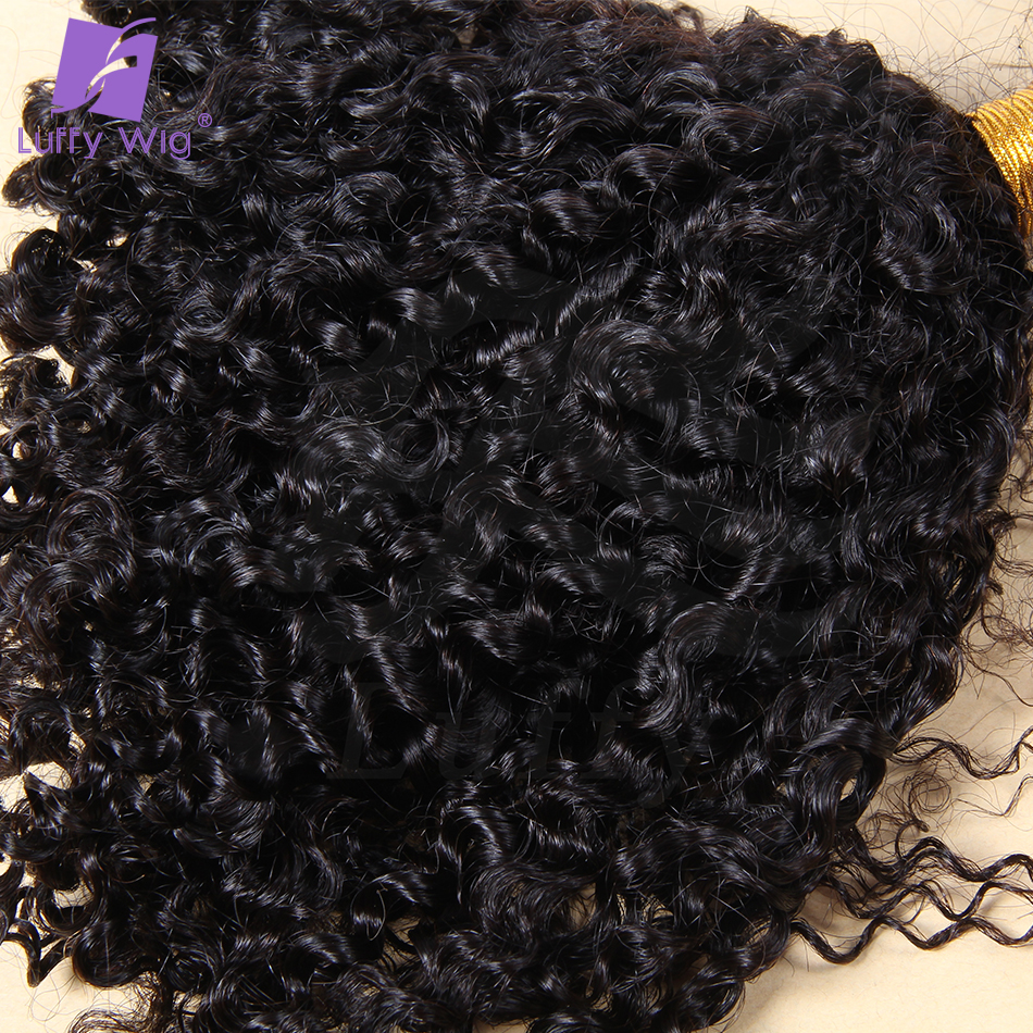 Tight Kinky Curly Human Hair Bulk For Braiding Mongolian Remy Hair No Weft Hair Bundles Natural Black 100g/pc Luffywig
