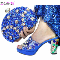 Elegant Style 2019 Christmas Party Shoes Matching Bag Set Italian Ladies Decorate with Rhinestone in Royal Blue for Wedding