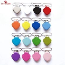 Wholesale Heart Shape Suspender Clip,Mixed Colors Baby Metal Heart Pacifier Clips Holder Suppliers & Manufacturers 200pcs