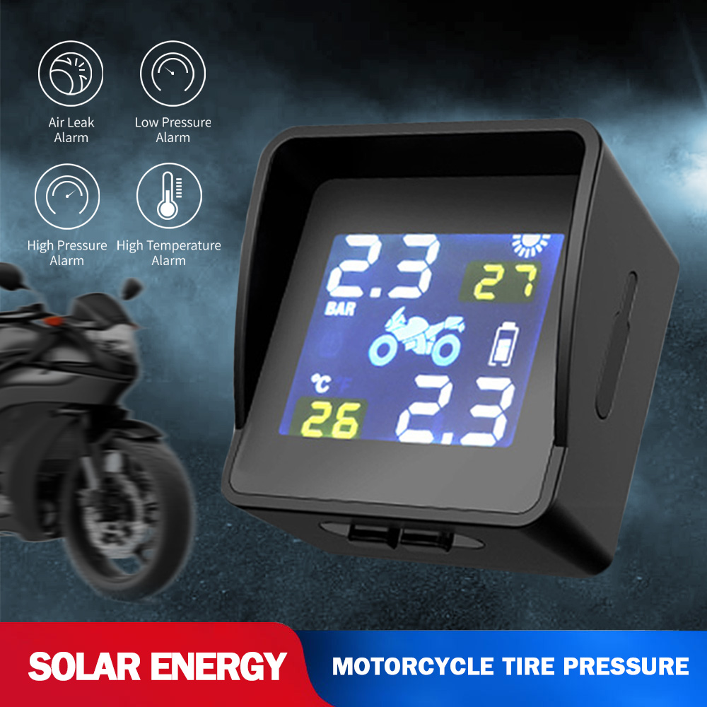 Waterproof Solar Motorcycle Tire Pressure Sensor Tire Temperature Alarm Wireless LCD Color Screen Real-time Display USB Charge