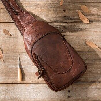 New oil leather men's leather chest bag handmade retro chest bag casual shoulder Messenger leather cowhide men bag new