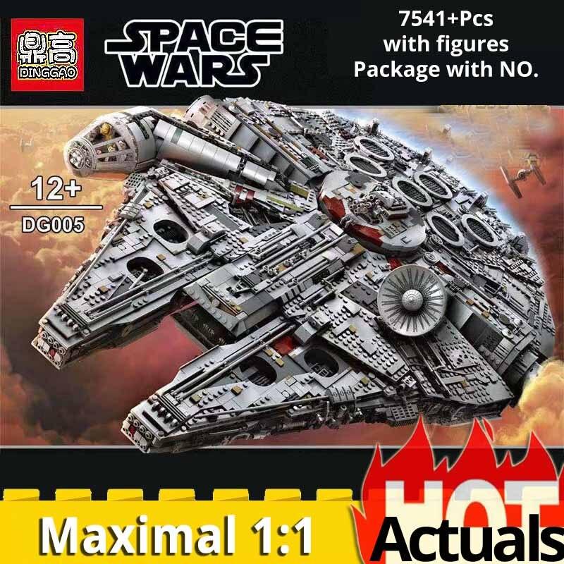 05132 final série coletor 7541 pçs max millenniumlys falcon spaceship blocos de construção tijolo legoinglys 2017 star wars 75192