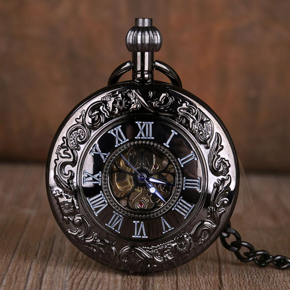Retro Fashion Hand Winding Mechanical Pocket Watch With Fob Chain Mens Hollow Skeleton Dial Black Stainless Steel Pocket Watches