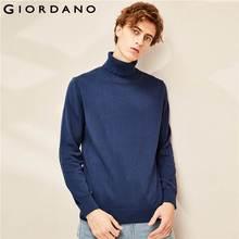 Giordano мужской джемпер с круглым высоким воротом,из натурального хлопка.
