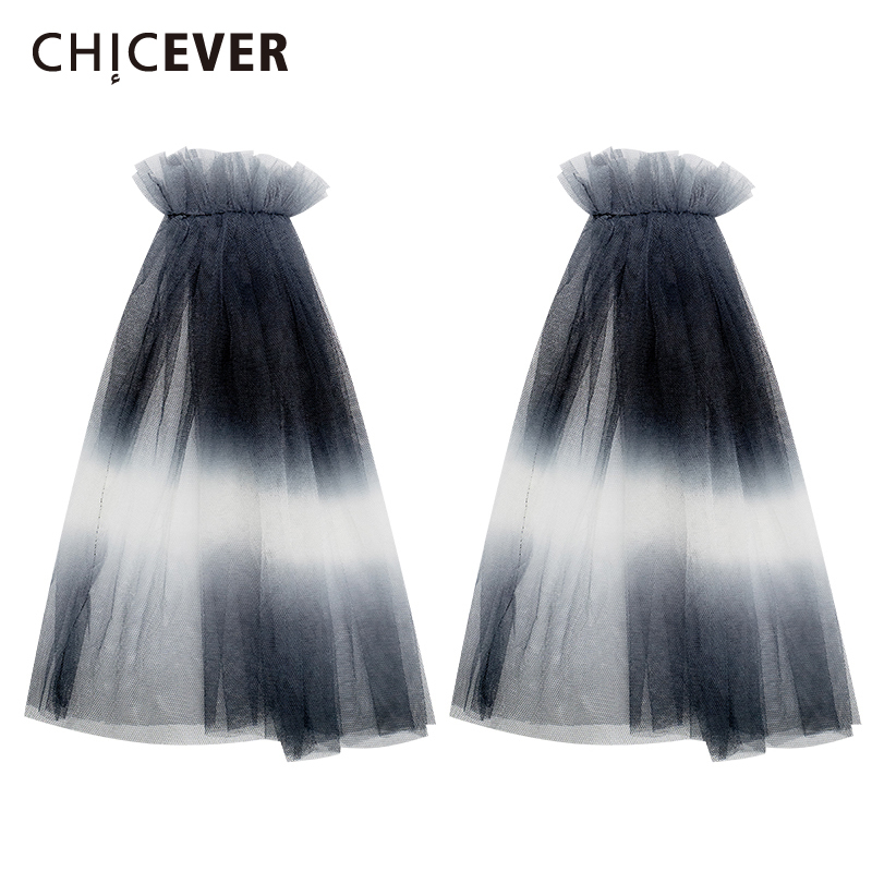 CHICEVER 2020 Mesh Hit Color Arm Warmers Female Patchwork Korean Simple Half Sleeve Loose Arm Warmer Women Summer Fashion New