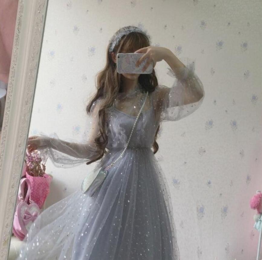 Sweet lolita dress fairy wedding dress stars gray blue mesh princess victorian girl gothic lolita op dress kawaii loli cos