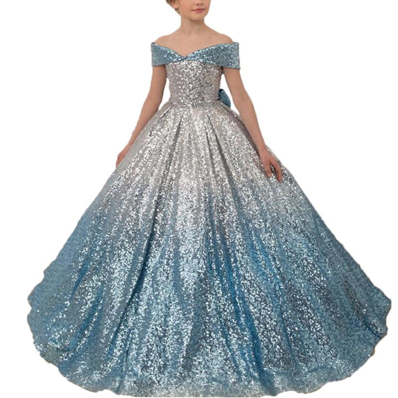 Princess Little Girls Dress Evening Party Vestidos De Gala Long Kids Ball Gown Blue Sequin Glitz Flower Girls Pageant Dresses