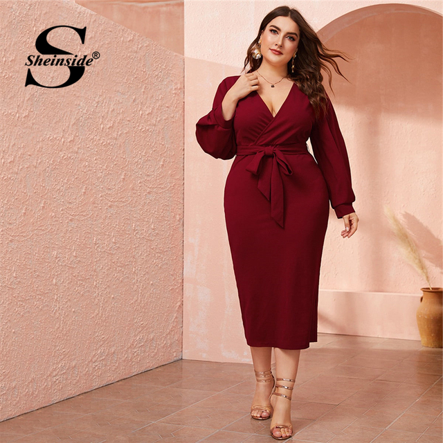 Sheinside Plus Size Deep V Neck Pencil Dress Women 2019 Autumn Lantern Sleeve Solid Midi Dresses Ladies Burgundy Belted Dress