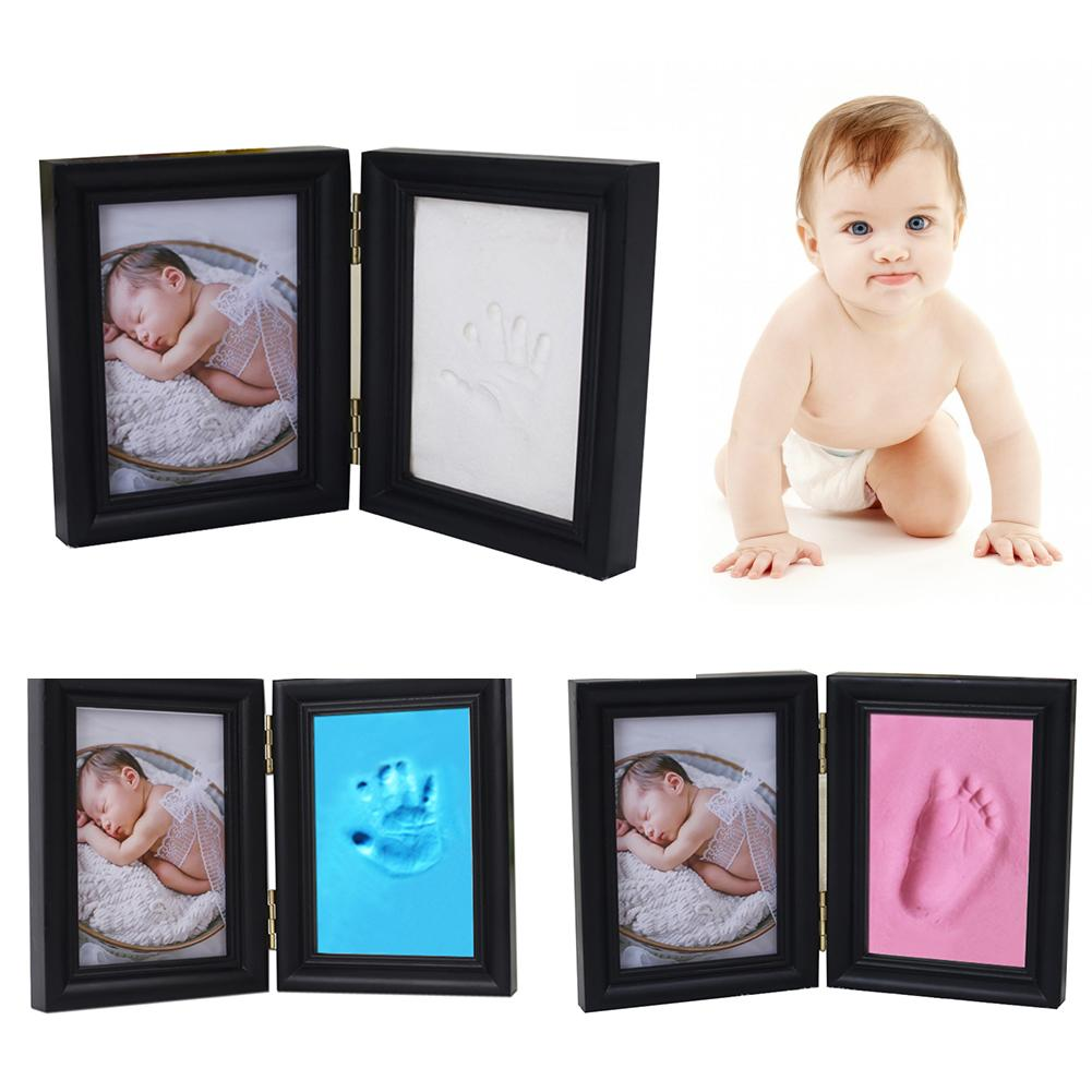 Newborn Baby Hand Inkpad Photo Frame Hand Print Footprint Souvenir With Wooden Frame For Parent-child Home Baby Memory Supplies