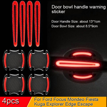 5D Car Door Handle Bowl Sticker And Decals Auto Reflective Strip Warning Safety Film For Ford Focus Mondeo Fiesta Kuga Explorer image