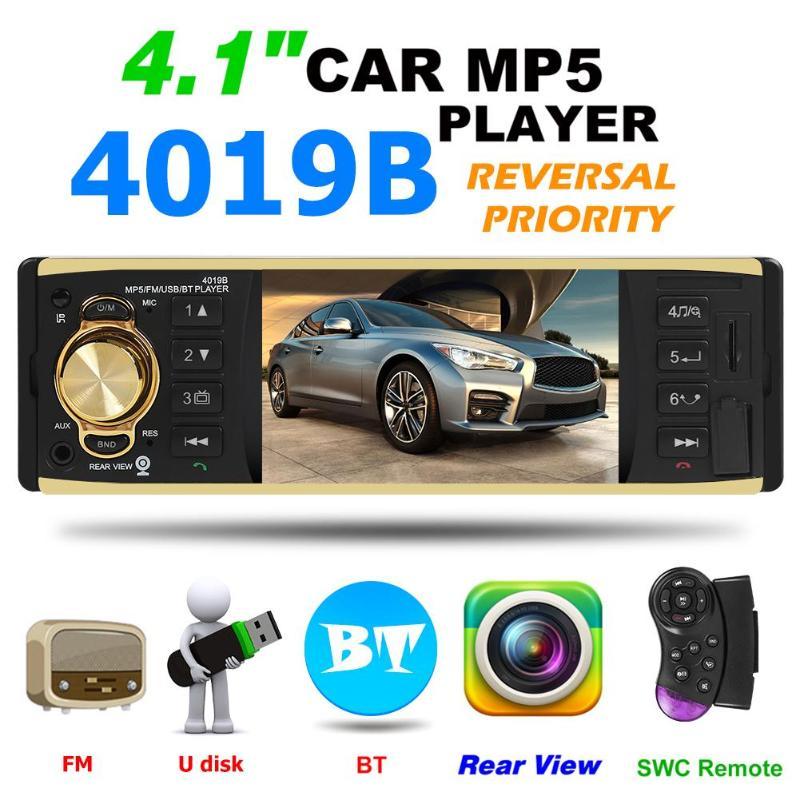 4019B 4.1 pouces 1 un Autoradio Din Audio stéréo AUX FM Radio Station Bluetooth Autoradio prise en charge caméra de recul télécommande