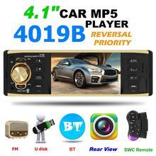 Radio de coche con soporte para cámara trasera, Radio con estéreo, AUX, FM, Bluetooth, 4,1 pulgadas, 1 Din, 4019B