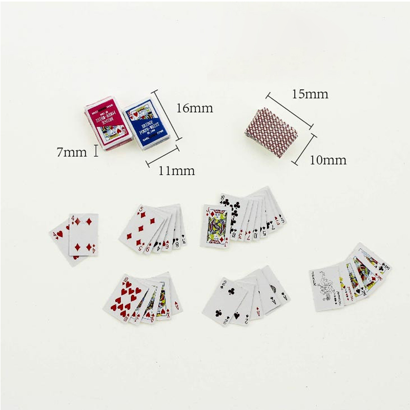 Mini Poker Playing Cards 1:12 Scale Dollhouse Furniture Miniature Living Room Table Accessories Cute Poker For Doll House