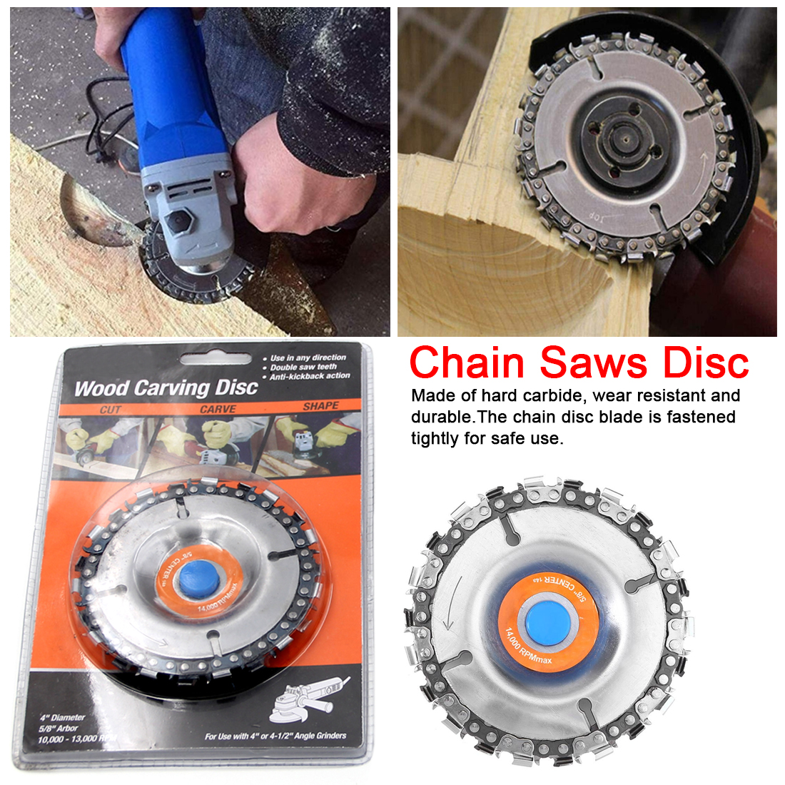 22 Teeth Grinder Chain Disc  5/8 Inch Arbor Wood Carving Disc Saw Blade Cutting Piece Wood Slotted Saw Blade 4 Inch