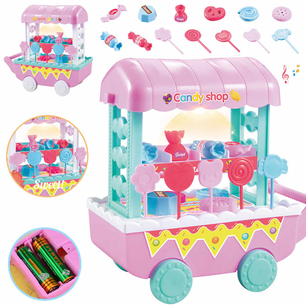 Kinder Mini Schnelle Lebensmittel Bus Kleinkind Mädchen Eis Auto Pretend Spielen Spielzeug Süße Candy Shop Kunststoff Spielen Haus Set für Kinder Geschenke