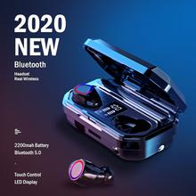 KUGE bezprzewodowe słuchawki Bluetooth słuchawki Stereo HD zestaw słuchawkowy dla aktywnych z podwójny mikrofon i wyświetlacz LED 2000Ah etui ładujące baterie tanie tanio Ucho NONE Inne CN (pochodzenie) Bezprzewodowy + Przewodowe