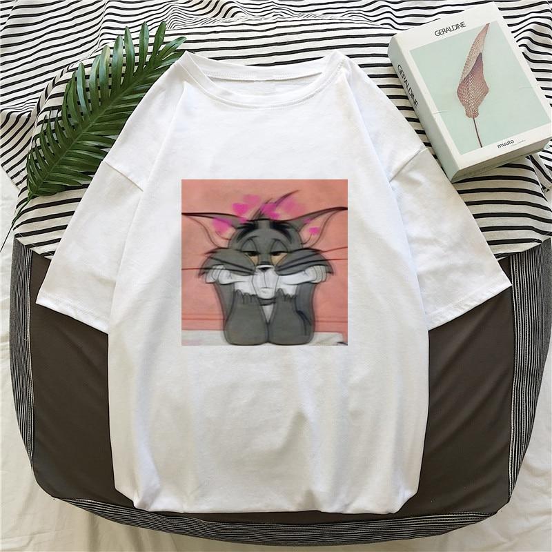 New Ulzzang kawaii Cat and Mouse Loose Casual Short Sleeve fun cute Female Cartoon Print Summer Tops tees Harajuku women T Shirt on AliExpress