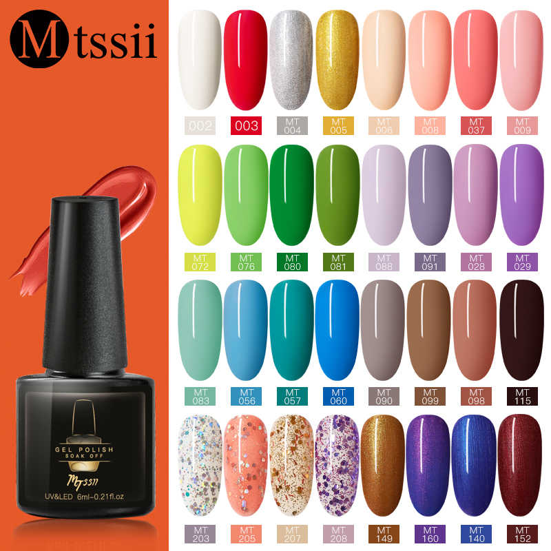 Mtssii Murni Warna Kuku Gel Polandia Manikur Semi Permanen Base Top Uv Gel Rendam Off Kuku Cat Gel Pernis Kuku art Lacquer