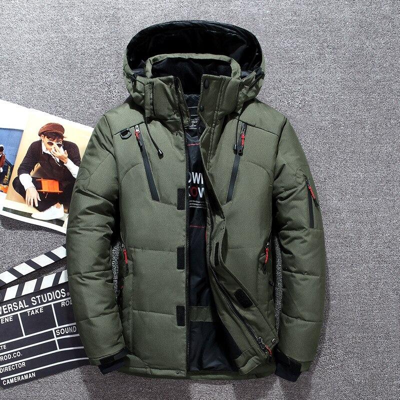-20 Degree Winter Down Coat Men White Duck Down Parkas Jacket Mens Thick Warm Snow Parka Jacket Overcoat Windbreaker Warm Parkas