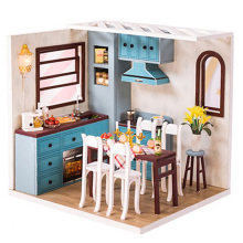 Handmade Doll House Furniture Miniature Diy Houses Dollhouse with Dust Cover Wooden Toys for Children Grown Ups B