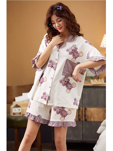 Image 4 - BZEL Hot Sale Sleepwear Cute Cartoon Pajamas Loose Homewear New Summer Nightwear Sets Purple Large Size Pijamas Sexy Soft Nighty