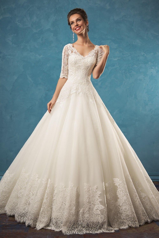 Vestido De Noiva Longo Amazon 2018 V-neck Half Sleeves A-Line Chapel Train Lace Tulle Bridal Gown Mother Of The Bride Dresses