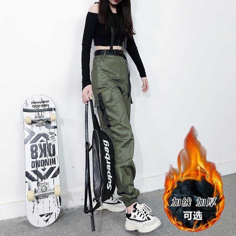 NiceMix Women Army Cargo Pants High Waist PantsCamouflage Loose Joggers Women Hip Hop HaremPants Streetwear Harajuku Pants