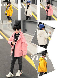 Coat Hooded Baby Winter Cotton Children Boy And Wool Product Big Thickening
