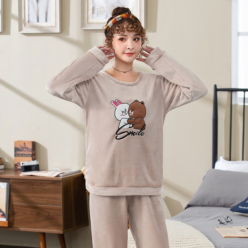 2019 Winter Thick Warm Flannel Cute Cartoon Pajama Sets for Women Long Sleeve Coral Velvet Sleepwear Suit Homewear Home Clothes 39